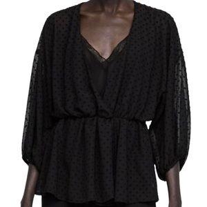 Zara Black Swiss Dot Blouse With Lace Cami